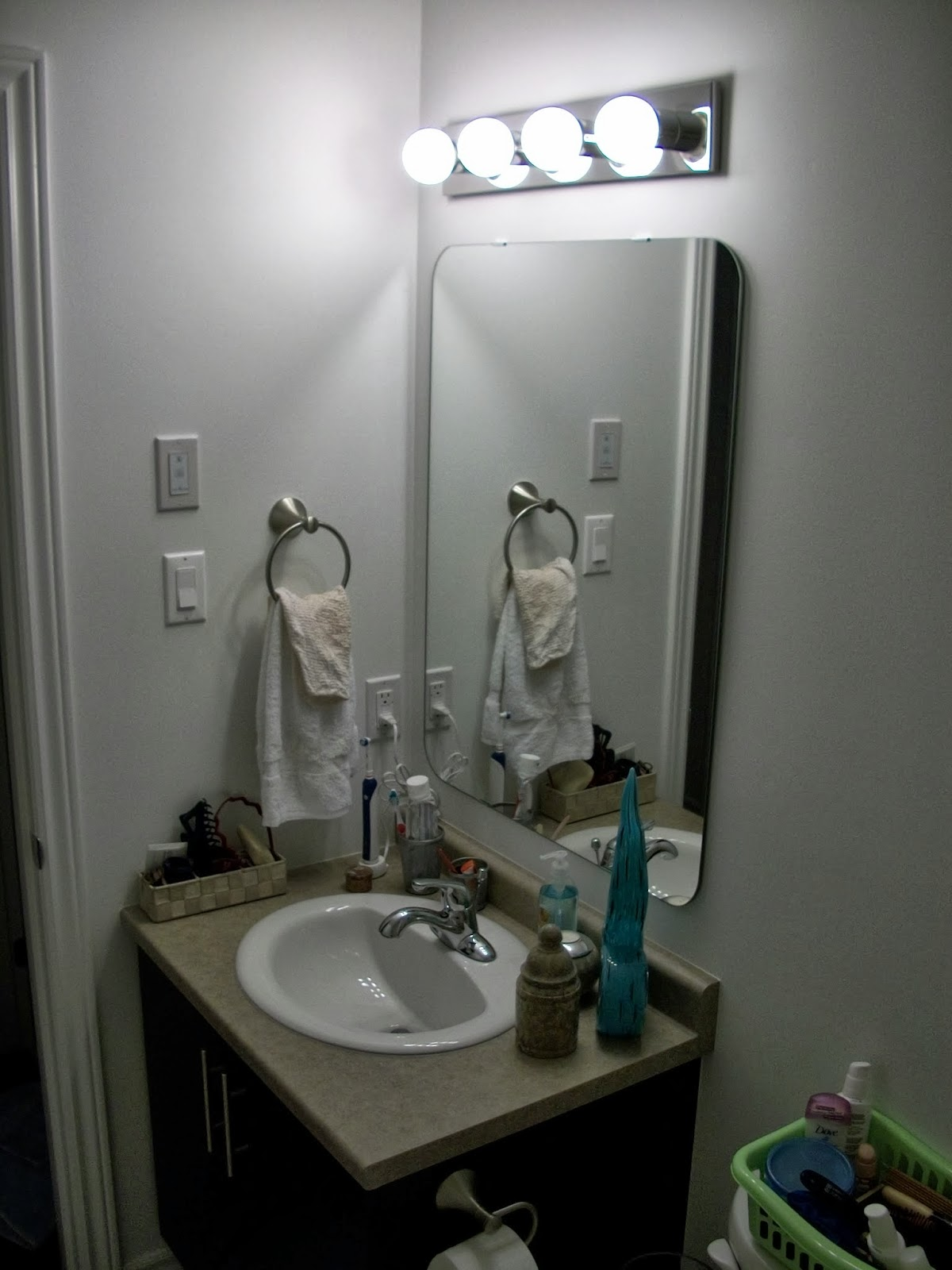 I Wanted To Quickly Share With You My New Light Fixture For Bathroom If Remember When Moved In The Vanity Featured A Nice Hollywood Glam Style