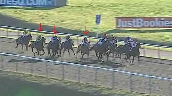 残り1ハロン過ぎ。まだキングストレイルが先頭。矢印左からジュヌーブ、ロイヤルティ、ティンシュ。