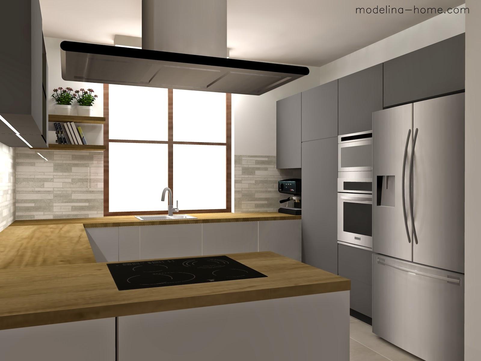 Modelina Projekt kuchni w drewnie i szarościach