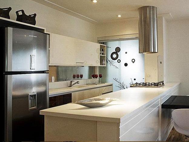 Decoração Dividindo a Cozinha e a Lavanderia  Cores da Casa # Bancada De Cozinha Feita De Porta