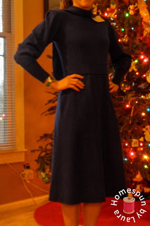 wool bow sweater dress refashion before photo