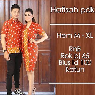 Model baju batik pasangan jumputan orange