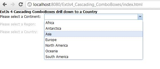 ExtJs 4 cascading ComboBox example using Java Servlet