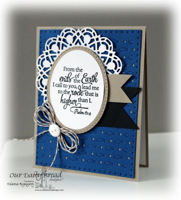 Designed by Diana Nguyen, Our Daily Bread Designs, Scripture Collection 12, Doily, Faithful Fish, Oval, Stitched Oval