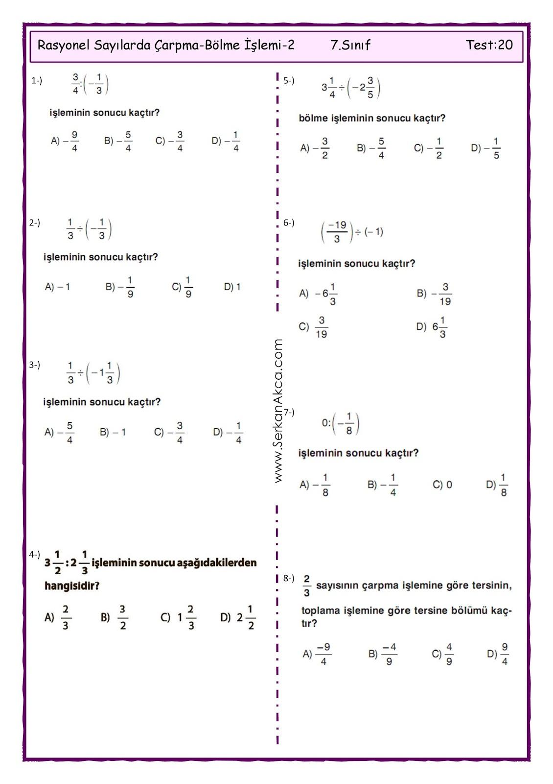 7sınıf Rasyonel Sayılarda çarpma Bölme Işlemi 2 Serkan Akça Matematik