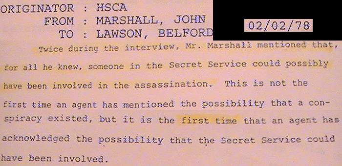 SAIC MIAMI OFFICE JOHN MARSHALL BELIEVED THE SECRET SERVICE MAY HAVE BEEN INVOLVED IN ASSASSINATION