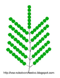 Дерево мимоза из бисера. Схема