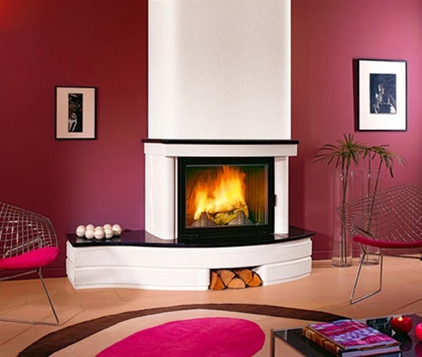 decoracion chimenea contemporanea rojo