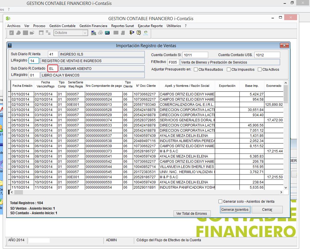 Importación Registro Ventas al Sistema CONTASIS v13.0.5 Formato F ...