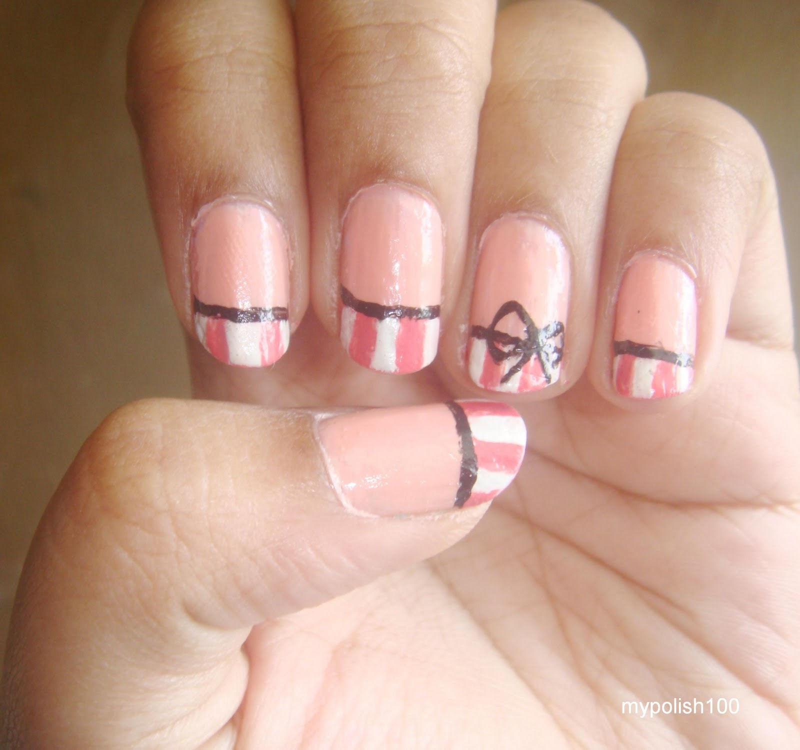 Pinkrafts: PINSTRIPE BOW NAILS TUTORIAL