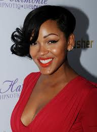 good sew in weave short hairstyle with bangs meagan good sew in weave ...