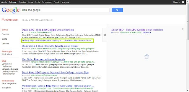 Google Sitelinks untuk Keyword Ilmu SEO Google