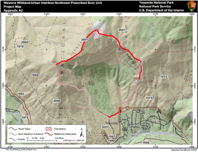 Wawona Northwest Prescribed Fire Map