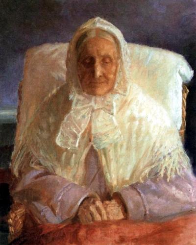 Fru Ane Brøndum i den blå stue, Anna Ancher (1913)