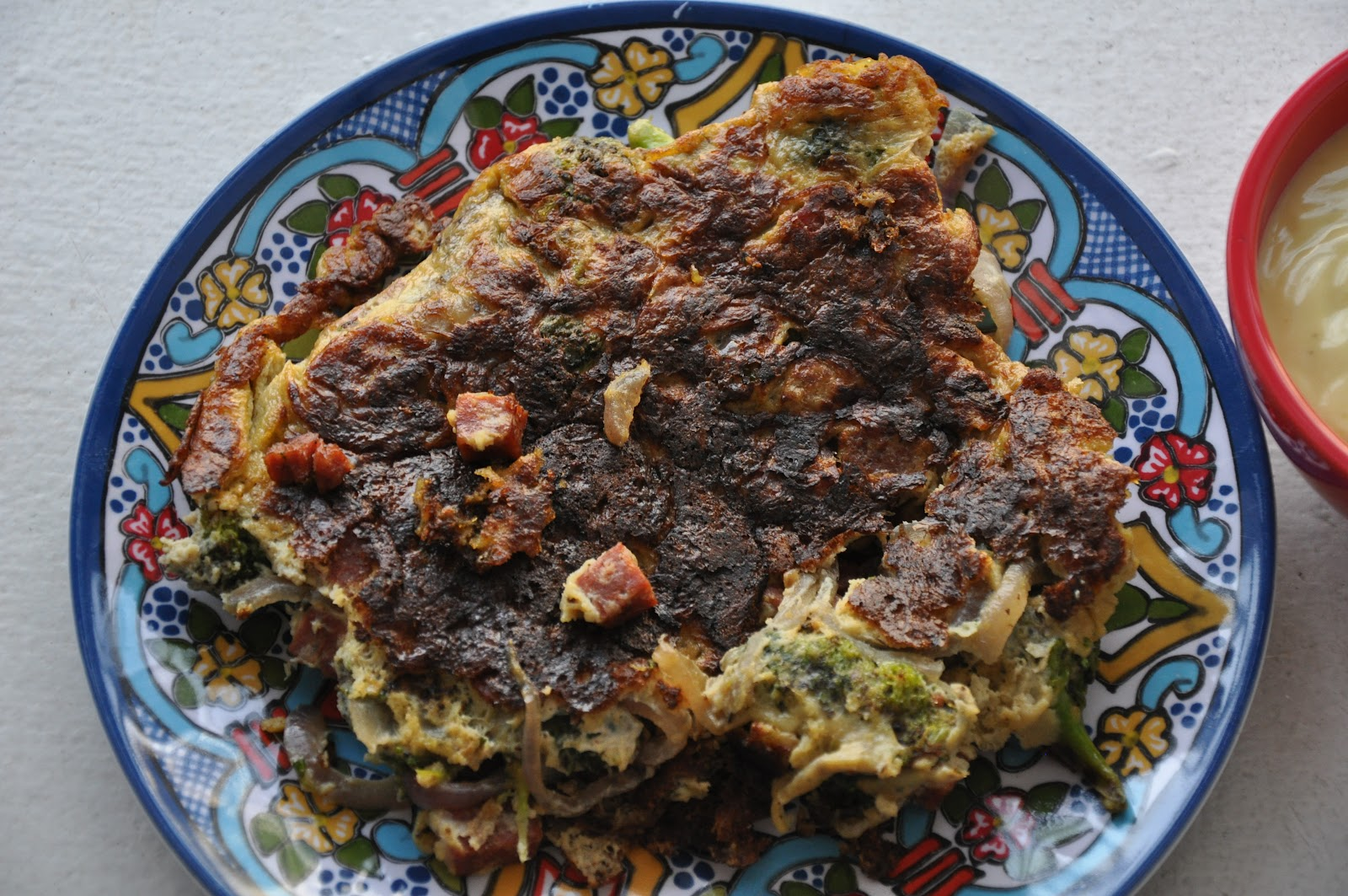 Slice of Rice: Spanish Tortilla with Broccoli, Chorizo and Onion