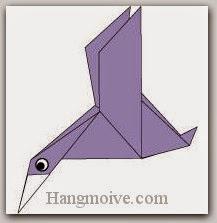 Bước 12: Vẽ mắt để hoàn thành cách xếp con Vịt trời bằng giấy theo phong cách origami.