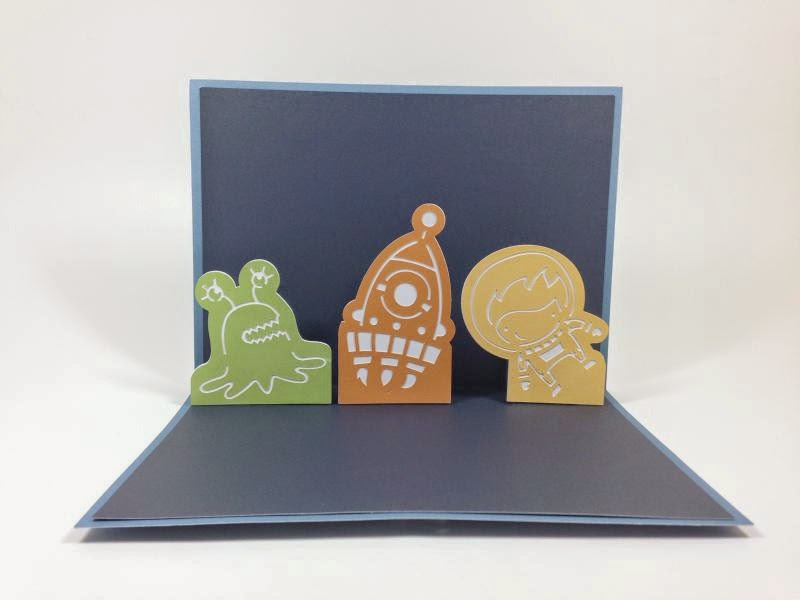 Close To My Heart Artfully Sent Cricut Cartridge Out of This World Pop-up card inside