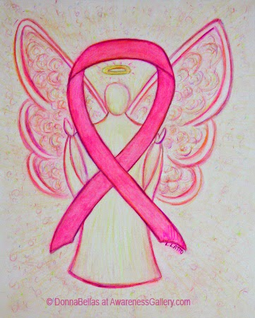 Pink Awareness Ribbon Guardian Angel Art Original Painting