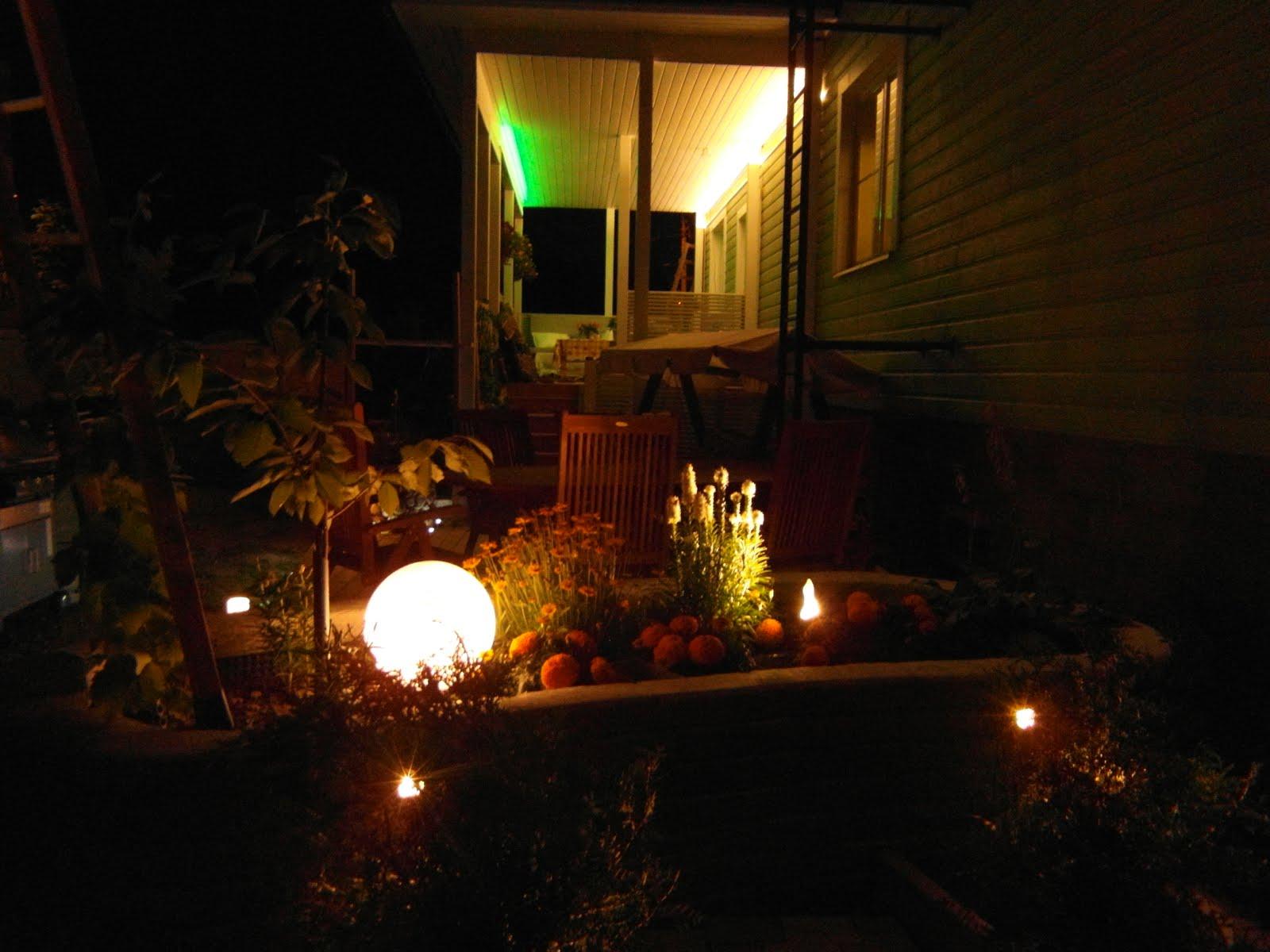 Puutarhan valaistusta