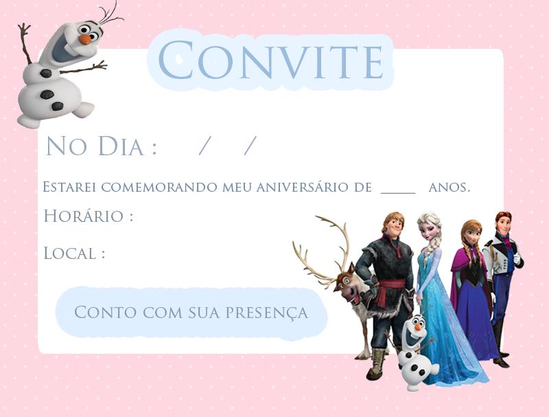 convites para festa de Frozen.