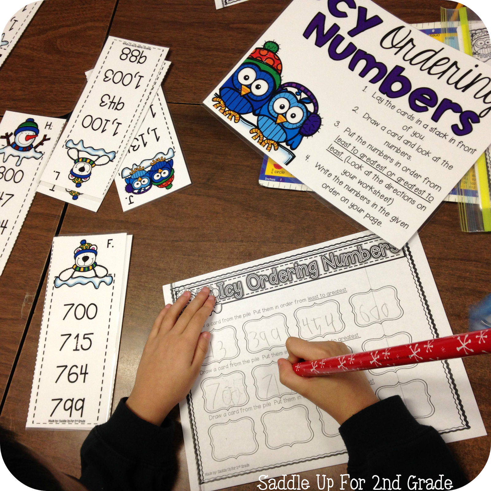 Icy Ordering Numbers Math Stations by Saddle Up For 2nd Grade