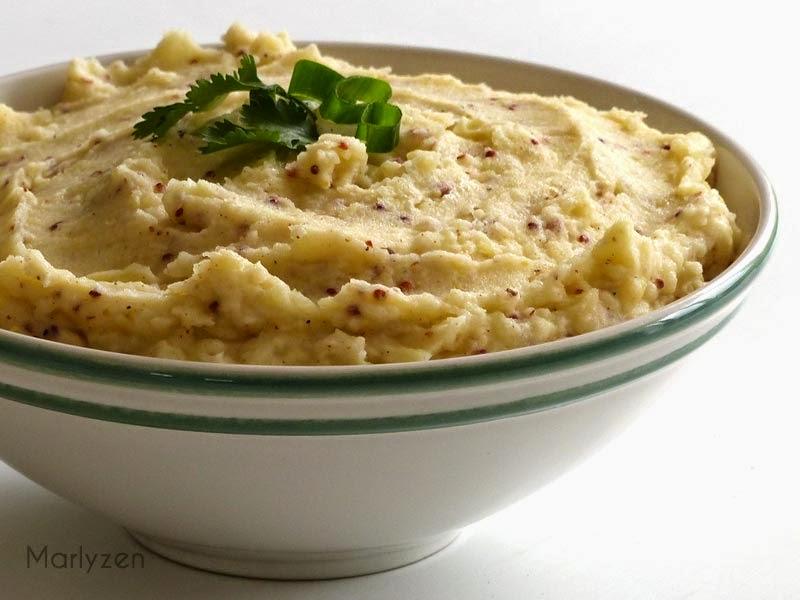 Purée de pommes de terre à l'ail et à la moutarde à l'ancienne.