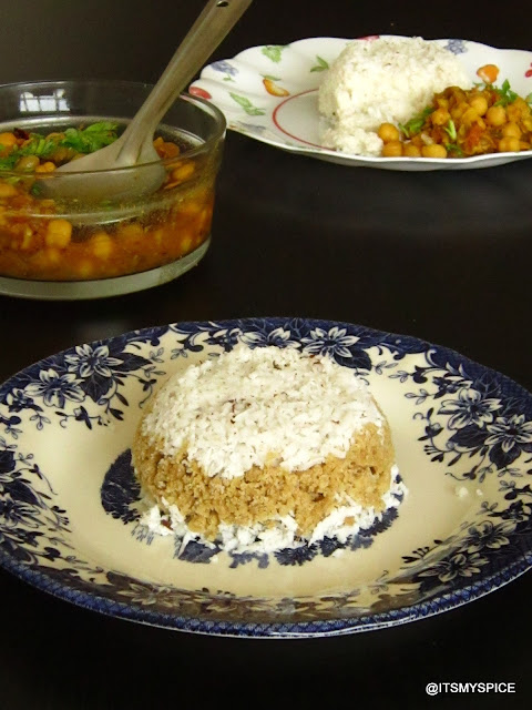 Puttu-kerala breakfast made with flour and coconut