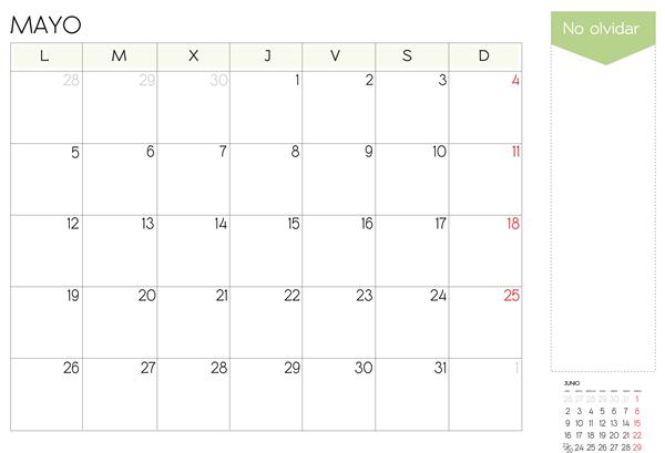calendario mes de mayo 2014 para imprimir
