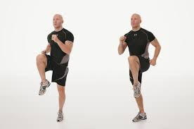 From now on there should not lean thigh again. Tighten your thigh muscles to the movement's high knees
