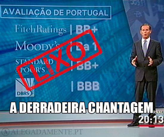 Imagem de José Rodrigues dos Santos a apresentar os Ratings de Portugal: LIXO – A derradeira Chantagem