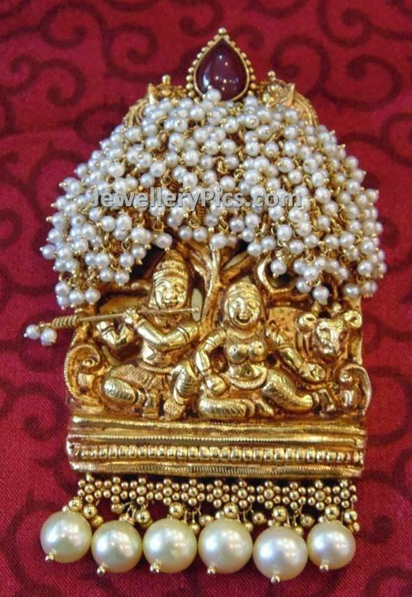 Heavy Nakshi work Radha krishna pendant