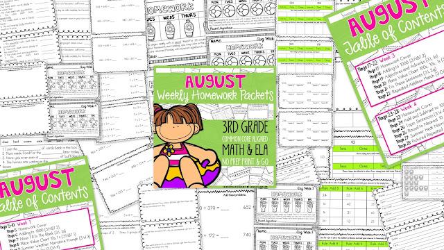 3rd grade math homework packets