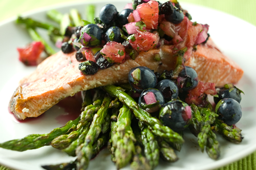 Grilled Salmon with Blueberry-Cilantro salsa: Toss together chopped ...