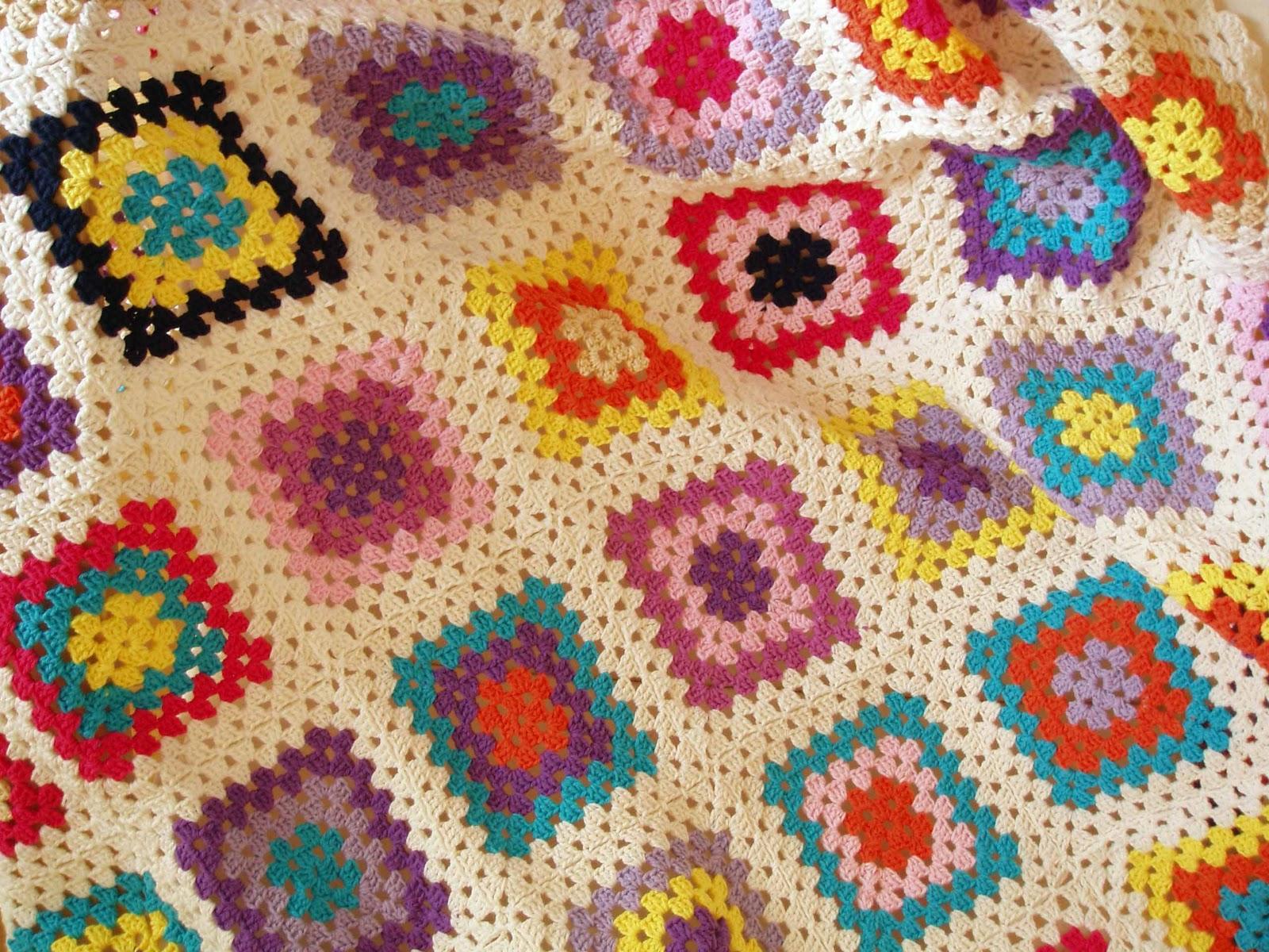 Manta de ganchillo espacio crochet - Mantas de crochet a cuadros ...