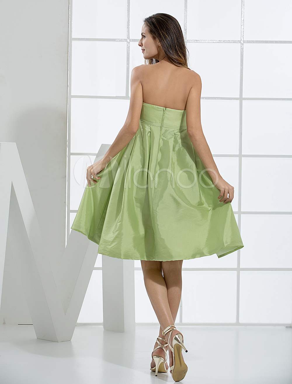China Wholesale Dresses - Modern Green Strapless A-line Taffeta Womens Homecoming Dress