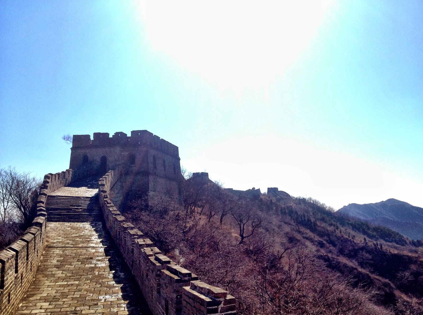 The sun beating down on the Great Wall