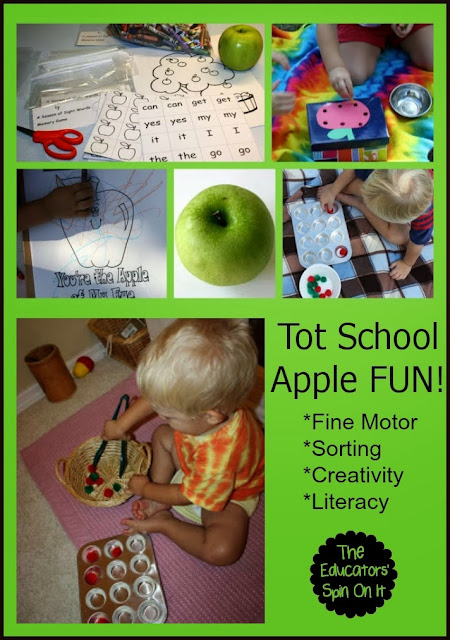 Apple Themed Tot School Ideas from The Educators' Spin On It