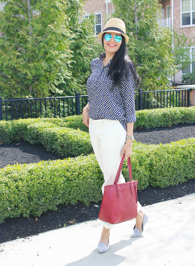 JCrew Popover Shirt, Waverly Chino, Andie Chino, Spring Outfit Ideas, Rayban Mirror Aviators, Fossil Sydney Shopper, Gap Striped Flats