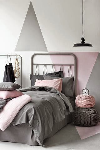 grey bedroom with pale pink wall