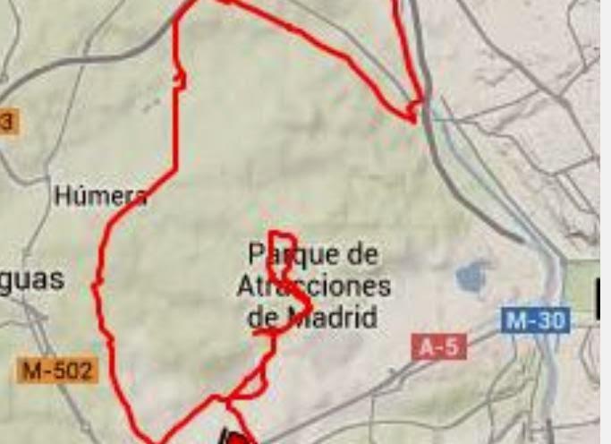 En bici desde Las Tablas - Mapa ruta por el muro de la Casa de Campo Madrid