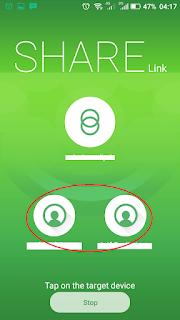 tampilan aplikasi sharelink memilih teman