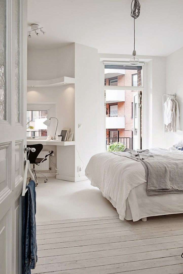 Scandinavian interior design, Scandinavian white bedroom, aloveforgrey blog