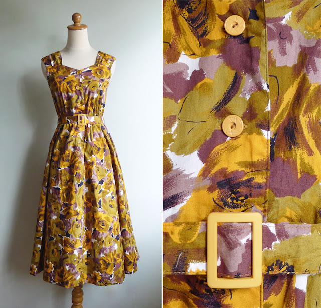 vintage 80's rose print sun dress with matching belt