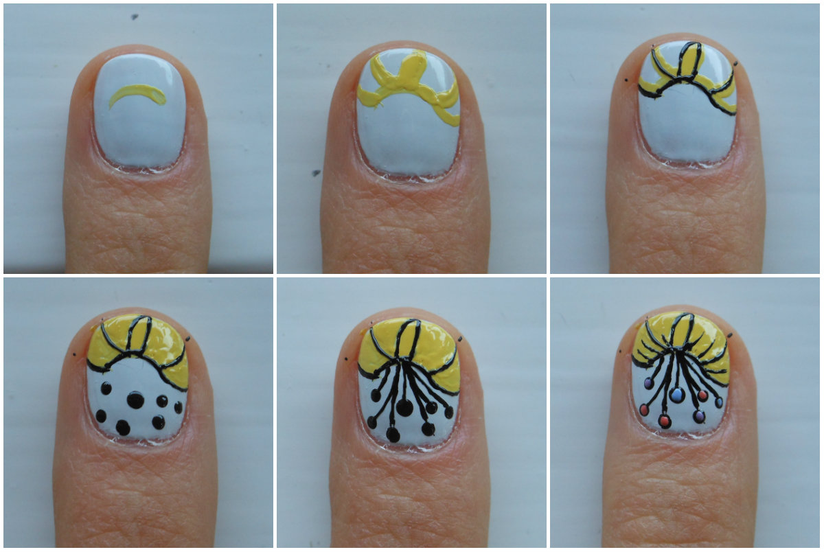 Top Row With A Nail Art Brush And Yellow Polish Paint Curved Line At Approximately The Upper Third Of Your Then Some More Lines That