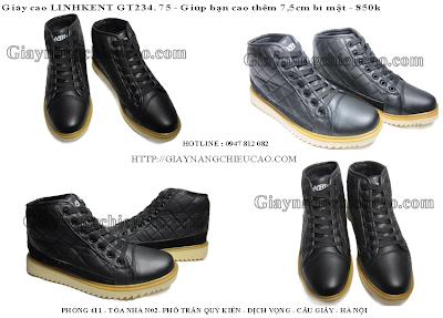 Giày nam nâng chiều cao Linh Kent GT234. 75