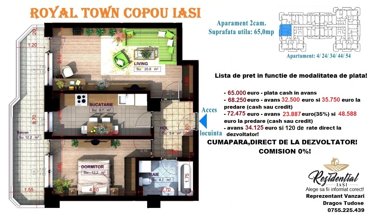 Apartament 2 camere decomandat - 65 mp