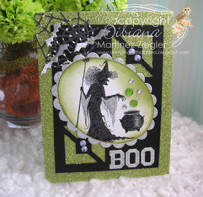 Halloween in green with Lavinia witch stamp front