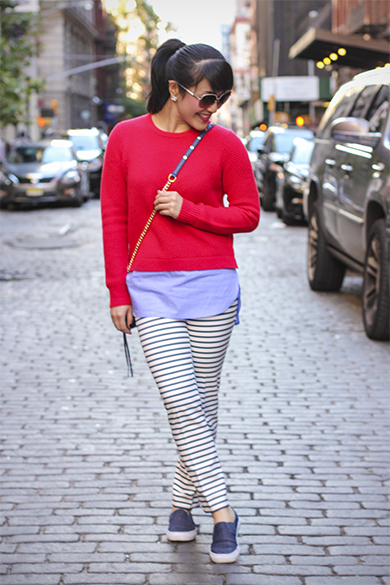 Red J.Crew Sweater with Zara navy striped pants