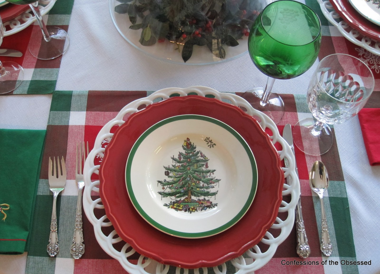 On top of the placemats I used a white charger from Maryland china a red Biltmore \u201cLouisa\u201d dinner plate and a \u201cChristmas Tree\u201d salad plate. & Confessions of the Obsessed: Obsession Number Five