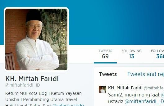 Tokoh Ulama Bandung KH Miftah Faridl Rilis Akun Twitter